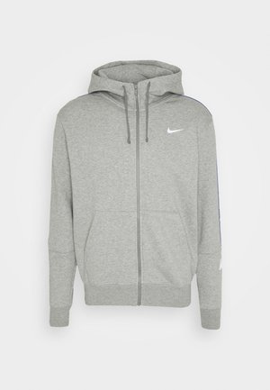 REPEAT HOODIE - Huvtröja med dragkedja - dark grey heather/white