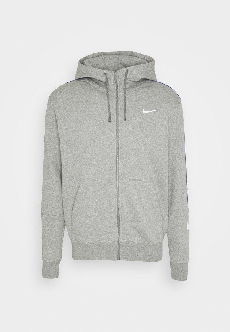 Nike Sportswear - REPEAT HOODIE - Huvtröja med dragkedja - dark grey heather/white
