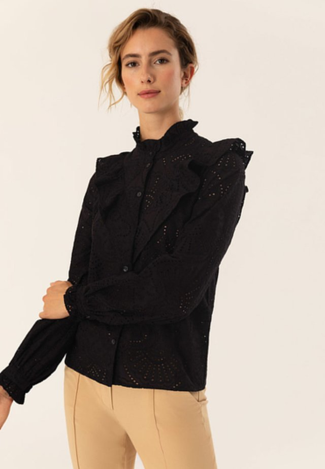 VALANCE BLOUSE WITH BUTTON PLACKET - Pusero - black