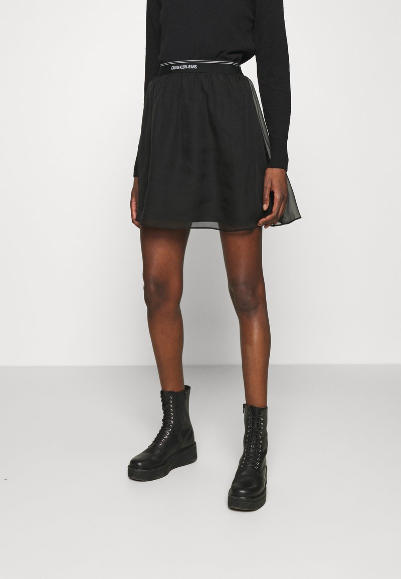 Calvin Klein Jeans - LOGO WAISTBAND SKIRT - A-line skirt - black
