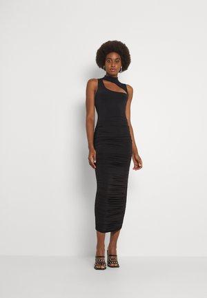 HIGH NECK CUT OUT MIDAXI DRESS SLINKY - Maxi dress - black