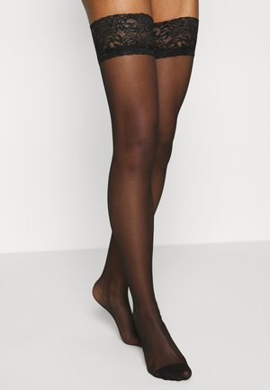 GLOSSY HOLD UP - Over-the-knee socks - black