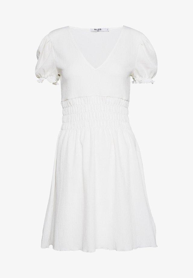 PUFF SLEEVE MINI DRESS - Vestito estivo - white