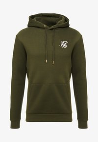 SIKSILK - MUSCLE FIT OVERHEAD HOODY - Jersey con capucha - khaki/white - 3