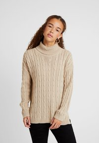 Missguided Petite - CABLE ROLL NECK JUMPER - Pullover - stone - 0