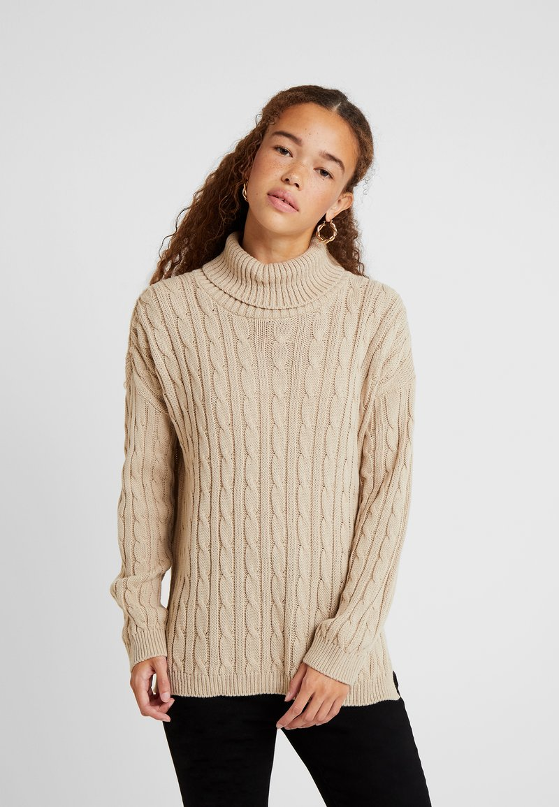 Missguided Petite - CABLE ROLL NECK JUMPER - Pullover - stone