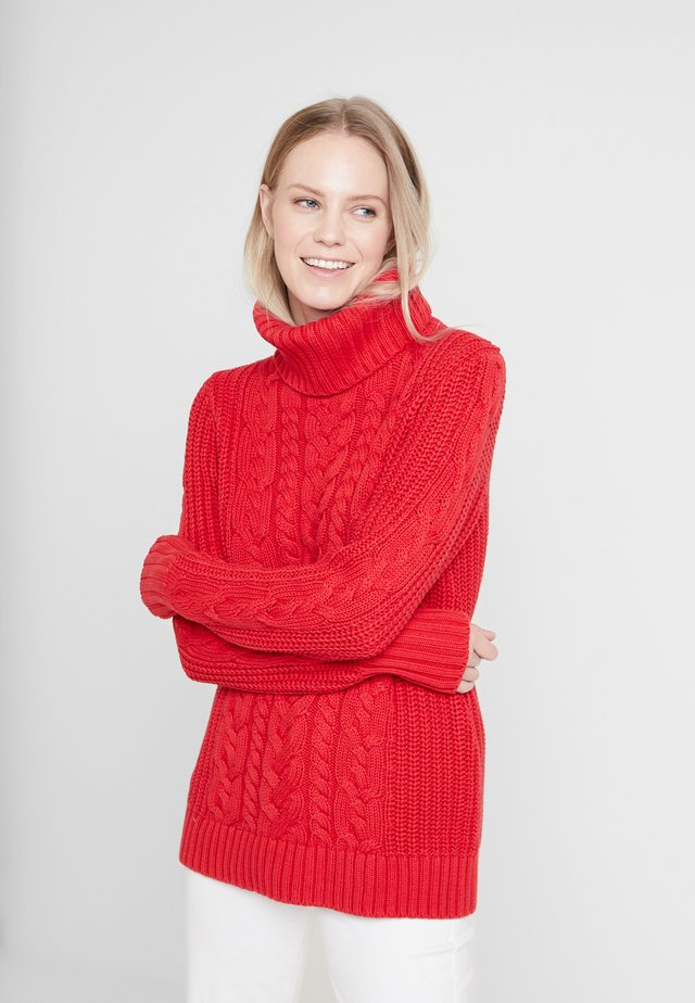 CABLE NECK  - Neule - modern red