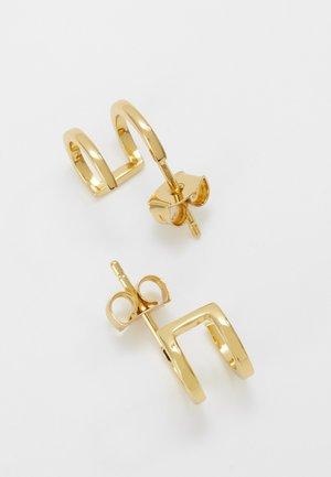 DOUBLE HUGGIE PLAIN STUDS - Earrings - pale gold-coloured