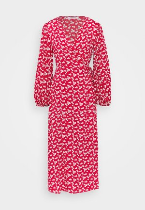 LONG SLEEVE WRAP DRESS WITH V NECK - Maxi dress - red / white