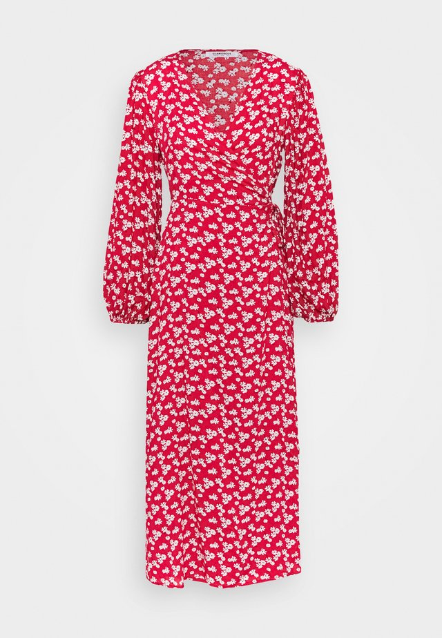 LONG SLEEVE WRAP DRESS WITH V NECK - Robe d'été - red / white
