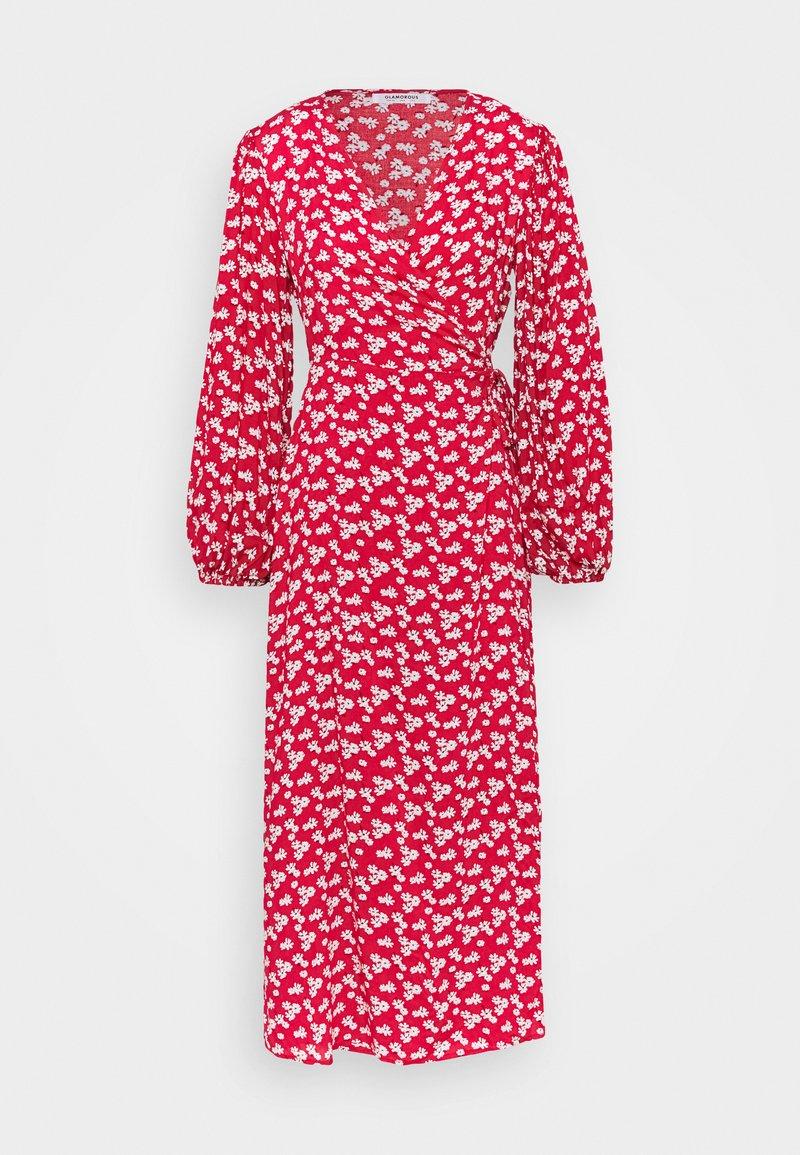 Glamorous - LONG SLEEVE WRAP DRESS WITH V NECK - Maxikjole - red / white