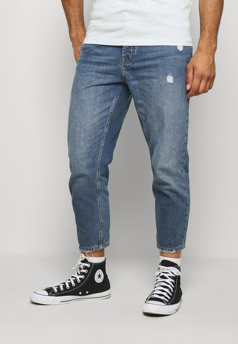 Only & Sons - ONSAVI LIFE BEAM TAP CROP - Jeans Tapered Fit - blue denim