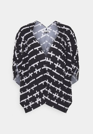 JELLY BLOUSE PLISSÉ - Triko s potiskem - black/white