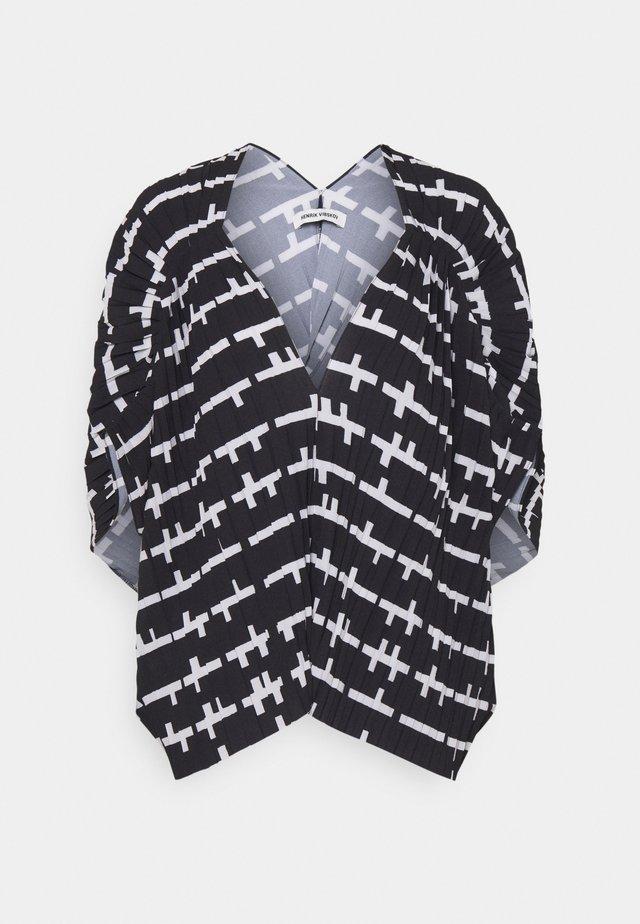 JELLY BLOUSE PLISSÉ - T-shirt imprimé - black/white