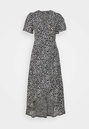 HIGH LOW MIDI DRESS DALMATIAN - Hverdagskjoler - black
