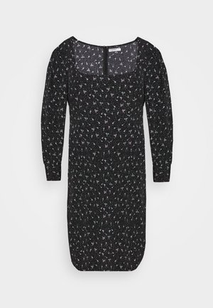 SQUARE NECK DITSY PRINT DRESS - Vapaa-ajan mekko - black