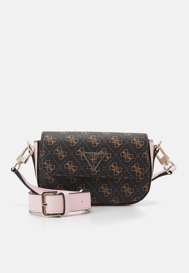 Guess - AMBROSE MINI CROSSBODY FLAP - Skulderveske - brown/blush