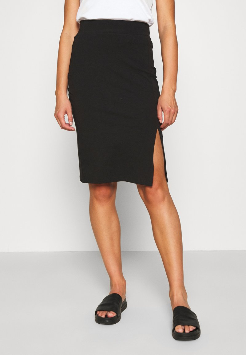 Even&Odd - BASIC - Midi skirt with slit - Pencil skirt - black