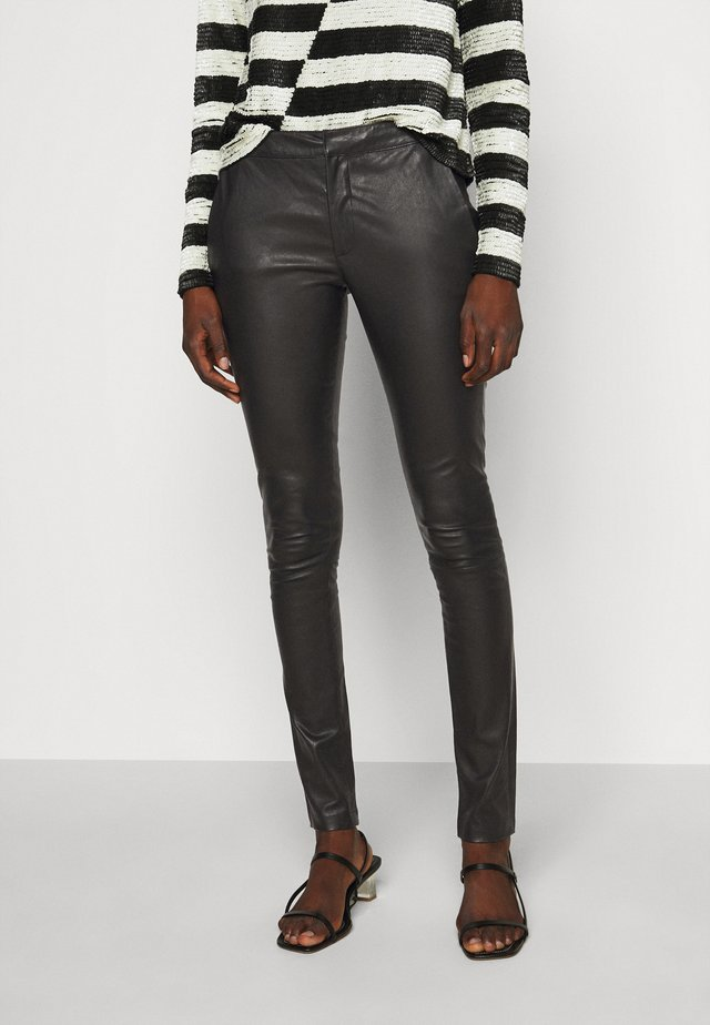 LEAH - Leather trousers - black