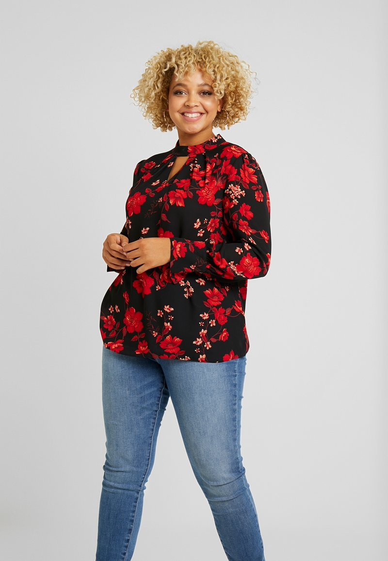 Dorothy Perkins Curve - PLEAT NECK HONEY FLORAL - Bluse - red