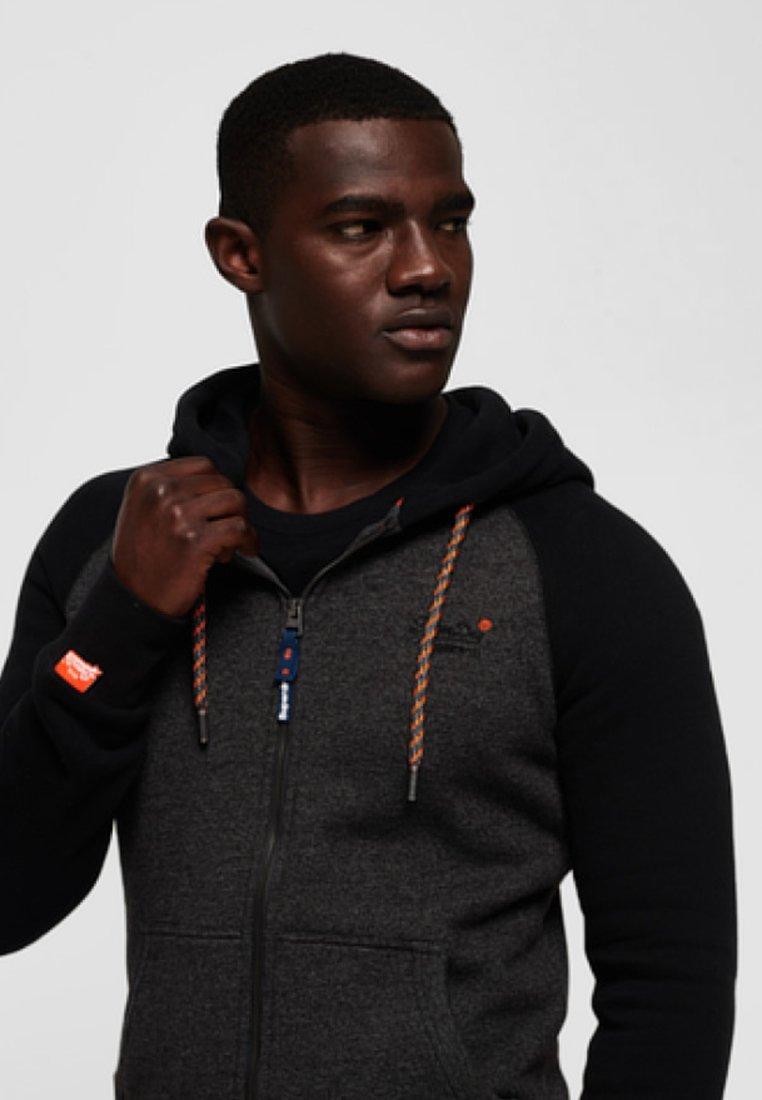 Superdry veste en sweat zippée - dark gray