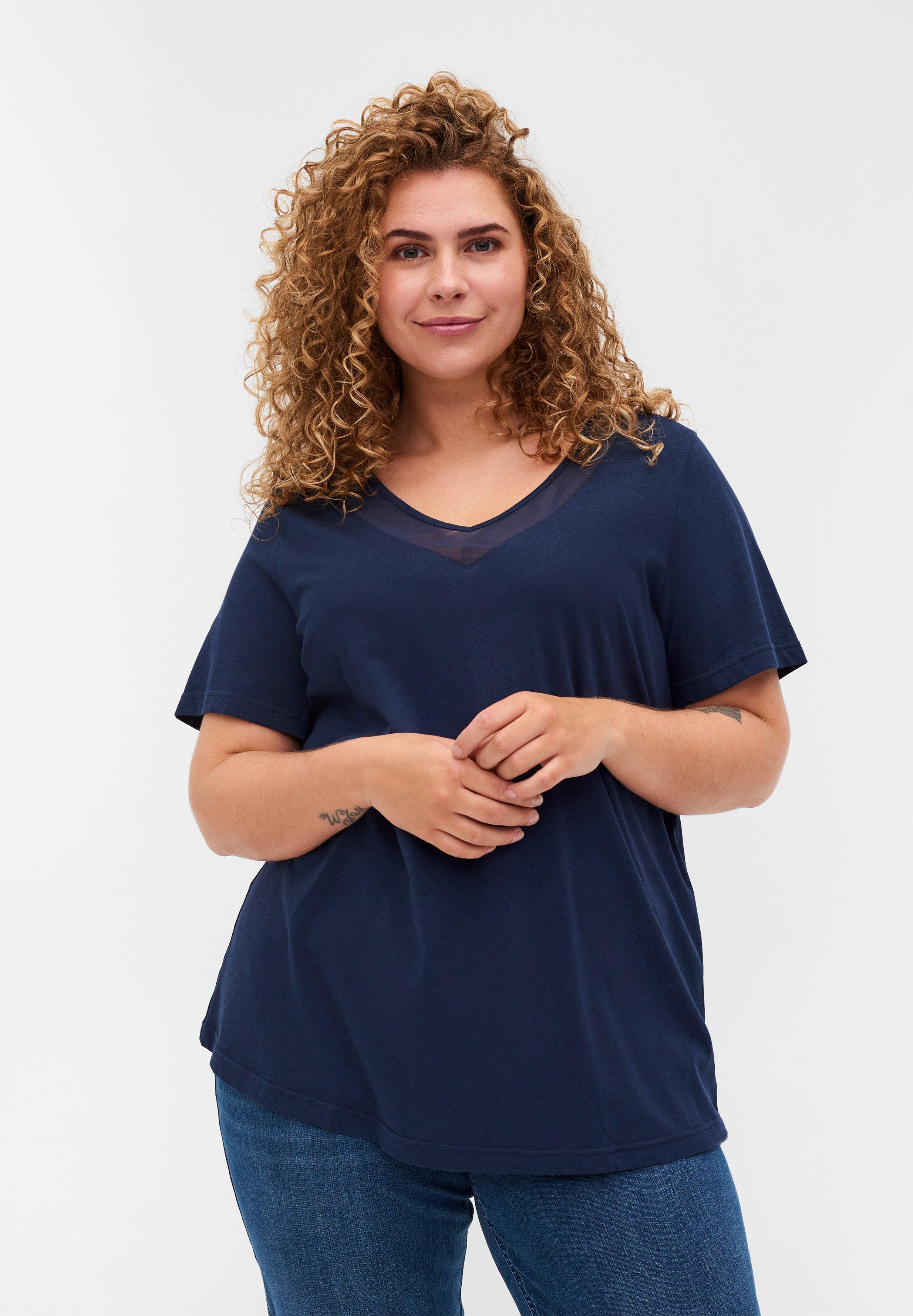 Mujer MIT V-AUSSCHNITT UND MESH - Camiseta estampada