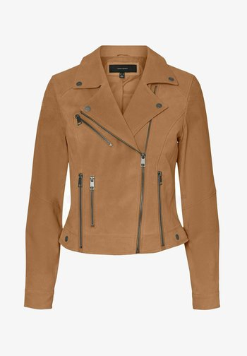 Leather jacket - tobacco brown