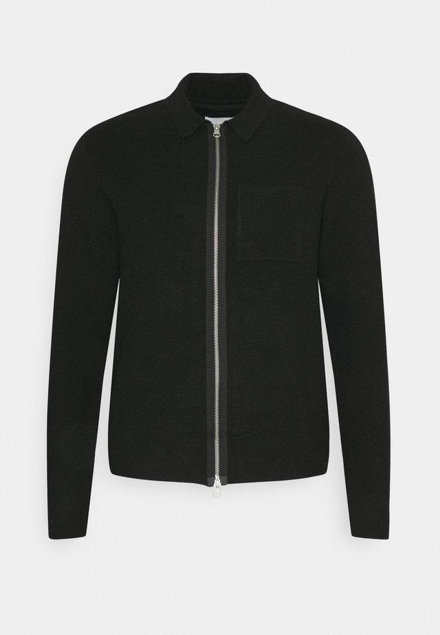 KALLE ZIPPER CARDIGAN - Cardigan - anthracite black
