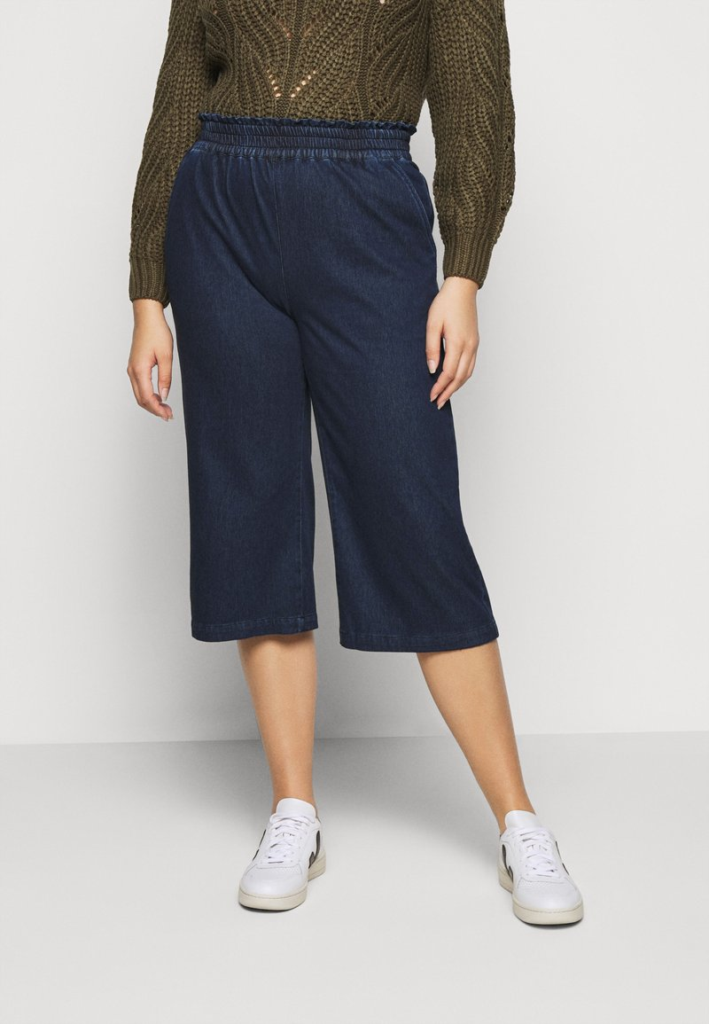 CAPSULE by Simply Be - PREMIUM JERSEY DENIM CULOTTES - Trousers - indigo