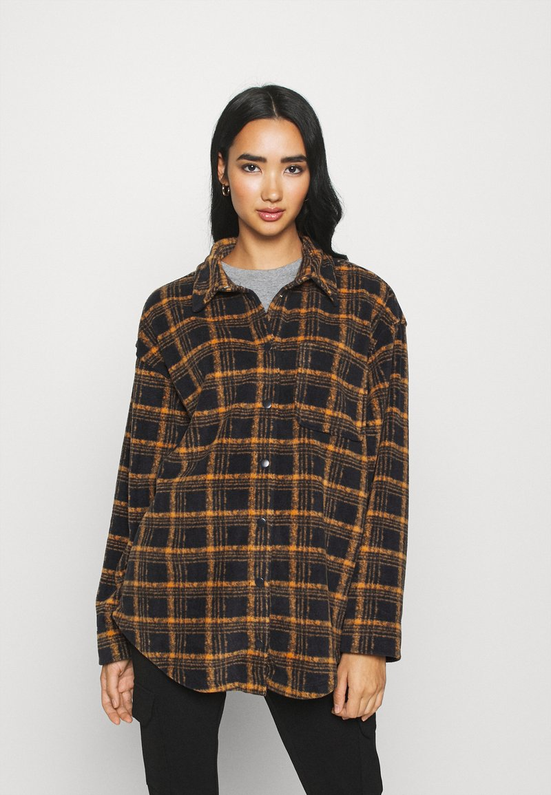 BDG Urban Outfitters - BRUSHED CHECKED SHACKET - Button-down blouse - orange