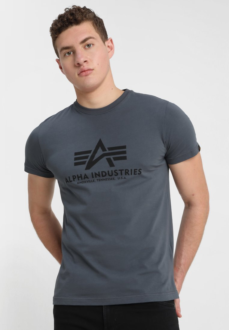Alpha Industries - BASIC - Print T-shirt - grey/black