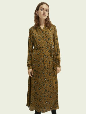 BELTED WRAP-OVER MIDI-LENGTH DRESS - Day dress - brown