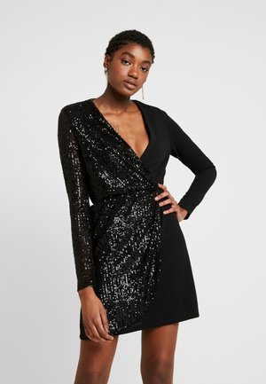 WRAP OVER LONG SLEEVE MINI DRESS - Sukienka koktajlowa - black