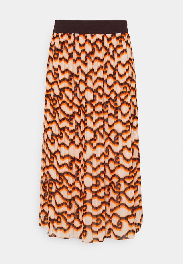 PRINTED MIDI SKIRT - Spódnica plisowana - orange