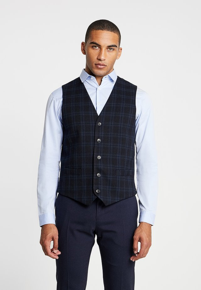 GILET IN YARN-DYED STRUCTURED QUALITY - Waistcoat - dark blue