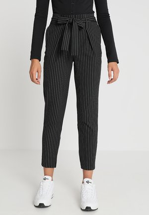 ONLNICOLE PINSTRIPE PANTS - Trousers - black