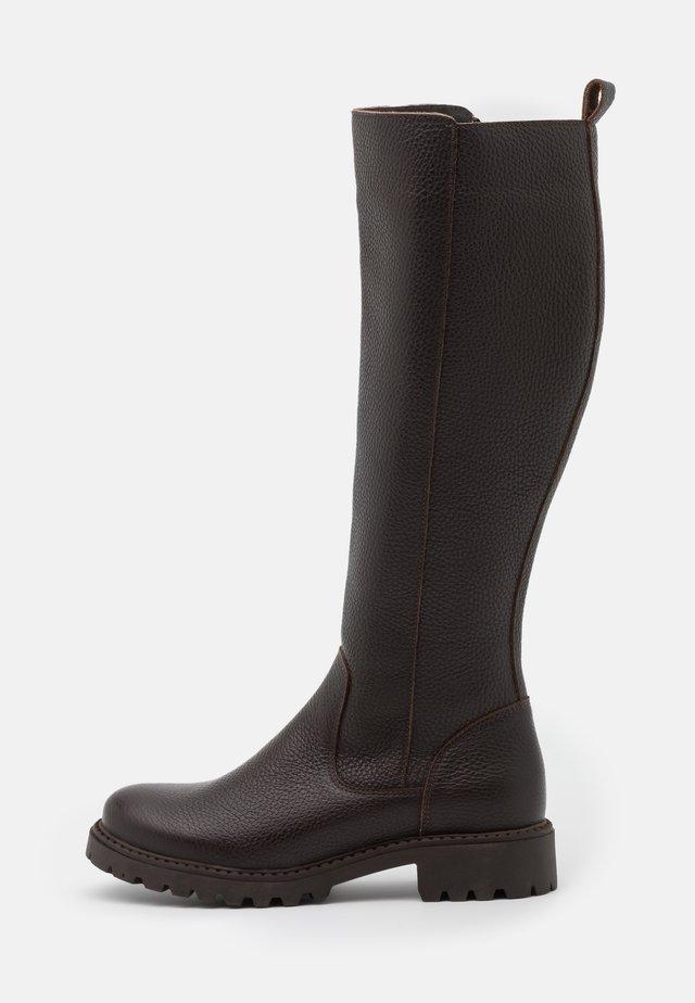 LEATHER - Stivali alti - dark brown