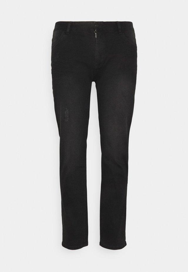 HUNTER SUPERFLEX - Slim fit jeans - distressed black