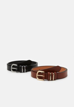 2 PACK - Belte - black/camel