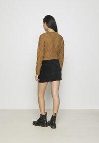 Even&Odd - CORDUROY HIGH WAISTED MINI BODYCON SKIRT - Mini skirt - black - 2