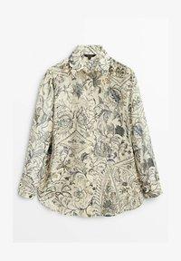 Massimo Dutti - BLÄTTERPRINT - Button-down blouse - beige - 4