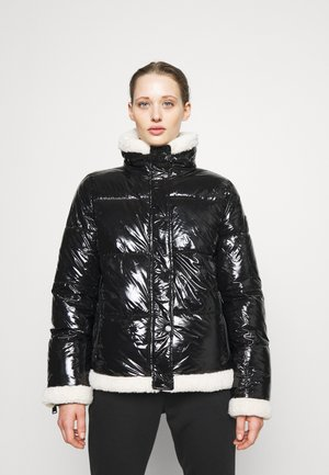 FUNNEL NECK PUFFER WITH SHERPA - Winter jacket - black