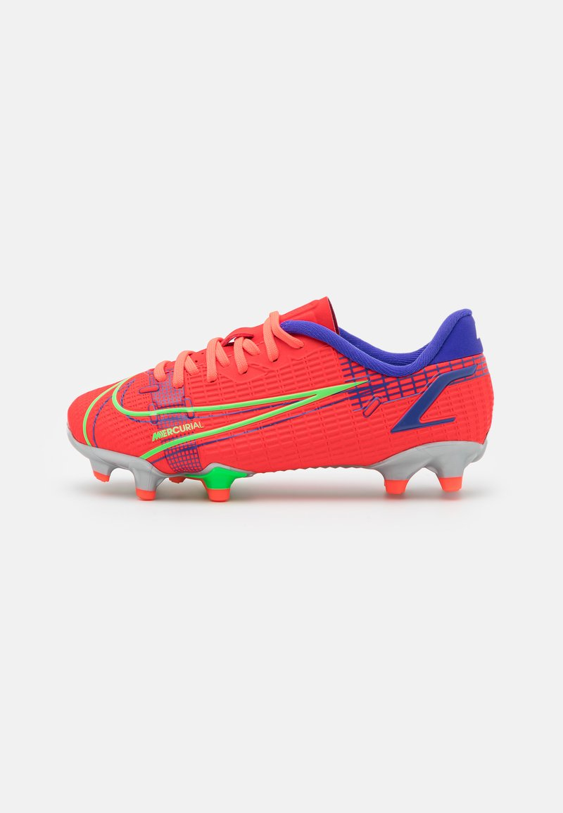 Nike Performance - JR MERCURIAL VAPOR 14 ACADEMY FG/MG UNISEX - Moulded stud football boots - bright crimson/metallic silver