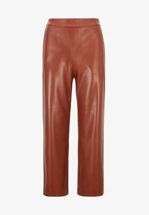 TAOMIE - Leather trousers - brown