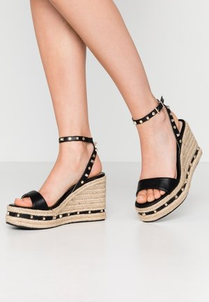 WHIZZER STUDDED SQUARE TOE WEDGE - High heeled sandals - black