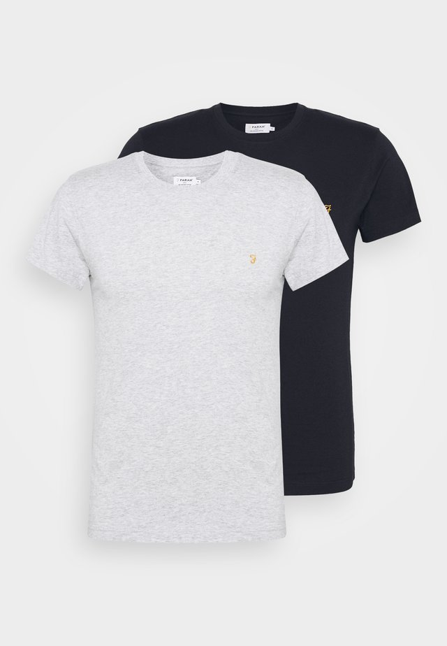 FARRIS 2 PACK - T-shirt basic - grey marl/true navy