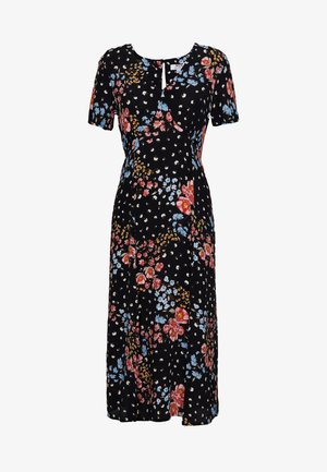 FLORAL FRONT TEA DRESS - Day dress - black