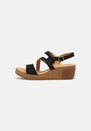 LEAVES - Sandály na platformě - black