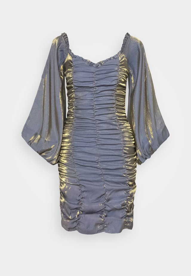 GATHERED MINI DRESS WITH PUFF SLEEVES AND SWEETHEART NECK - Juhlamekko - blue/gold metallic