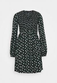 BLACK AND GREEN HEART SMOCKED DRESS - Day dress - black